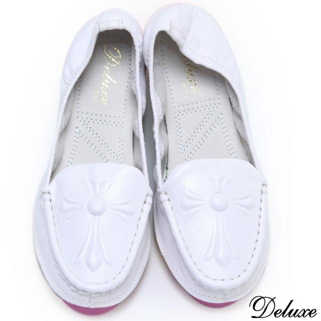 【Deluxe】全真皮質感浮雕圖騰休閒厚底鞋(綠★粉★白)