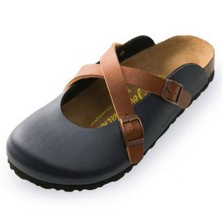 【Joy Walker】經典交叉包頭拖鞋-藍咖