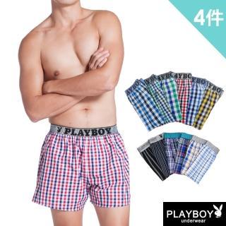 【PlayBoy】舒適LOGO黑織帶五片式平口褲(4件組)