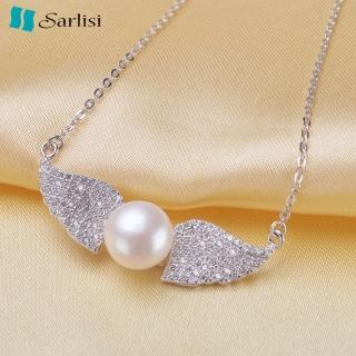 【Sarlisi】比翼雙飛純銀珍珠項鍊(白色、粉色、紫色)