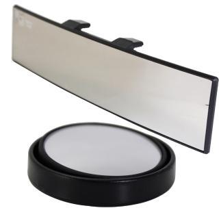 【omax】廣角鍍鉻曲面後視鏡-1入+360度迴轉小圓鏡LY117-2入(12H)