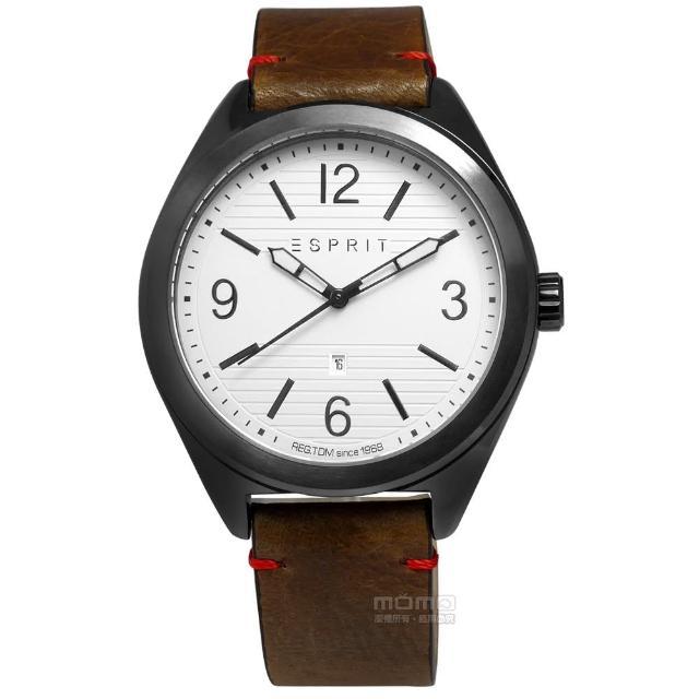 【ESPRIT】浪漫柔美時尚真皮腕錶 白x黑框x咖啡 44mm(ES108371003)