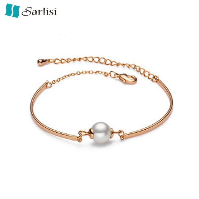 【Sarlisi】氣質典雅純銀珍珠手鍊(銀色、玫瑰金)
