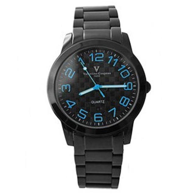 【Valentino范倫鐵諾】獨特逆走機芯跳色數字全黑手錶網友最愛商品