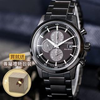 【CITIZEN】三眼計時光動能錶-鍍黑(CA0615-59E)