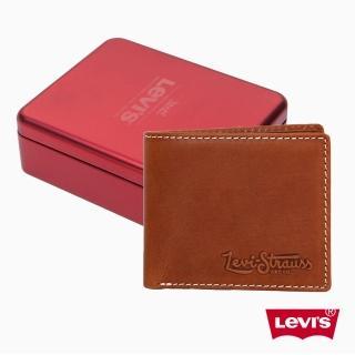 【Levis】男款時尚牛皮壓紋淺棕素面短夾