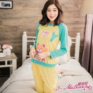 【I-meteor日系】PA2792全尺碼-熊熊愛心貼布撞色長袖二件式睡衣組(元氣黃)