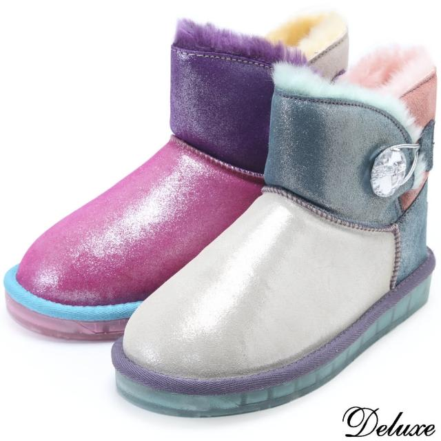 【Deluxe】北歐時尚雙拼撞色仿麂皮保暖絨毛雪靴(粉★白)