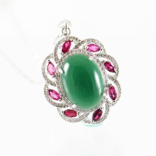 【金郁豐】華麗圓舞曲頂級天然帝王綠翡翠藍寶項鍊