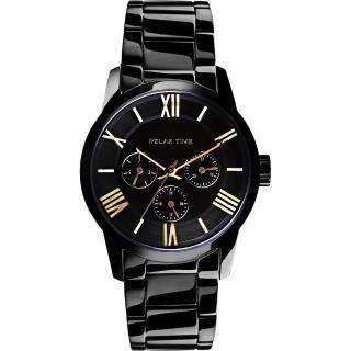 【RELAX TIME】羅馬情人日曆腕錶-金時標x黑/38mm(RT-65-1L)