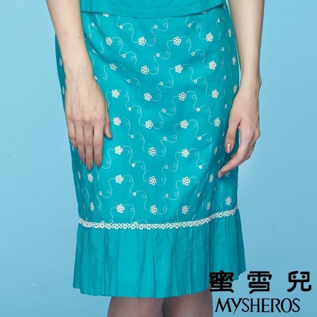 【蜜雪兒mysheros】甜美緹花膝下裙(藍綠)