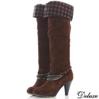 【Deluxe】全真麂皮經典格紋兩穿法過膝長靴(咖啡)