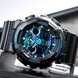 【G-SHOCK】強悍迷彩潮流雙顯錶-藍迷彩(GA-100CB-1ADR)