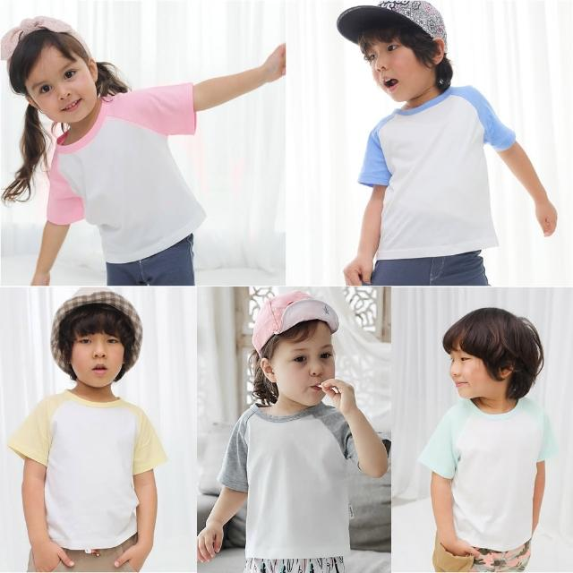 【baby童衣】男女童上衣 撞色插肩短袖純棉素面圓領T 61109(共4色)