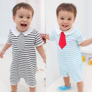 【baby童衣】寶寶爬服 假領帶條紋氣質連身衣 61052(共2色)