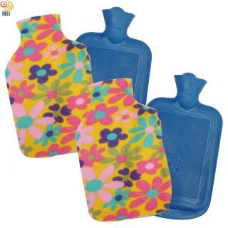 【月陽】時尚花紋特大號冰熱兩用保暖水袋熱水袋送絨布套超值2入(00182)