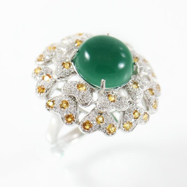 【金郁豐】花好月圓天然頂級翡翠藍寶戒指(活圍)