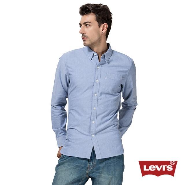 【Levis】純棉藍色長袖襯衫 / 單口袋 / 延續款