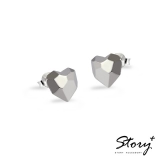 【STORY ACCESSORY】設計師手工系列-925純銀耳環-鑽石愛心