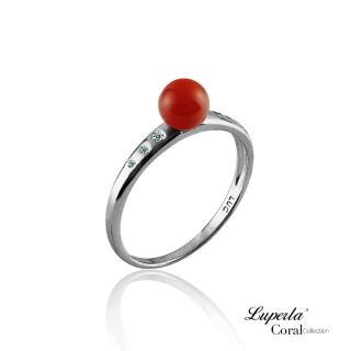 【大東山珠寶】富貴連年全紅珊瑚純銀戒指(天然全紅沙丁珊瑚)