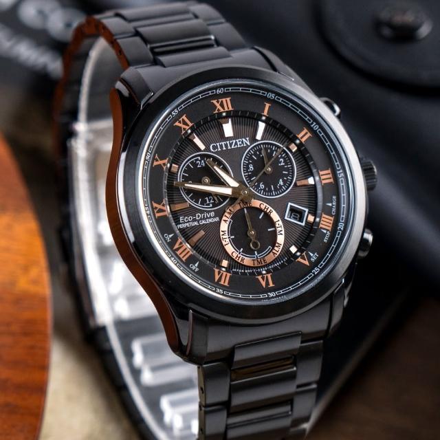 【CITIZEN 星辰】亞洲限定光動能萬年曆腕錶-黑金(BL5545-50E)