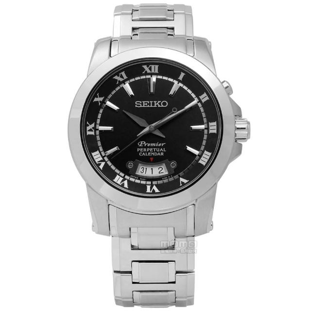 【SEIKO 精工】典藏品味羅馬萬年曆不鏽鋼腕錶 黑色 41mm(6A32-00X0B.SNQ147J1)