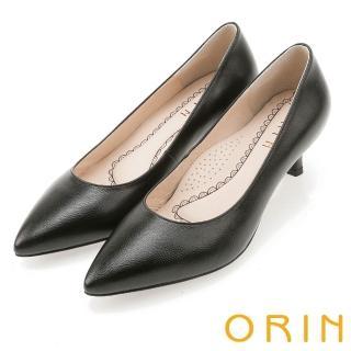 【ORIN】優雅大女人 柔軟羊皮素面中跟鞋(黑色)