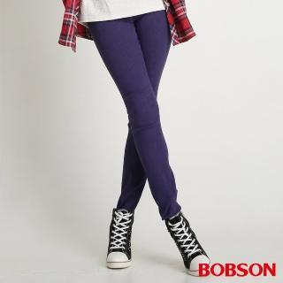 【BOBSON】女款高腰高彈力緹織布緊身褲(藍紫8109-50)