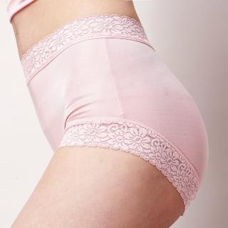 【矜蘭妃】100%蠶絲頂級42針蕾絲平口內褲(粉色)
