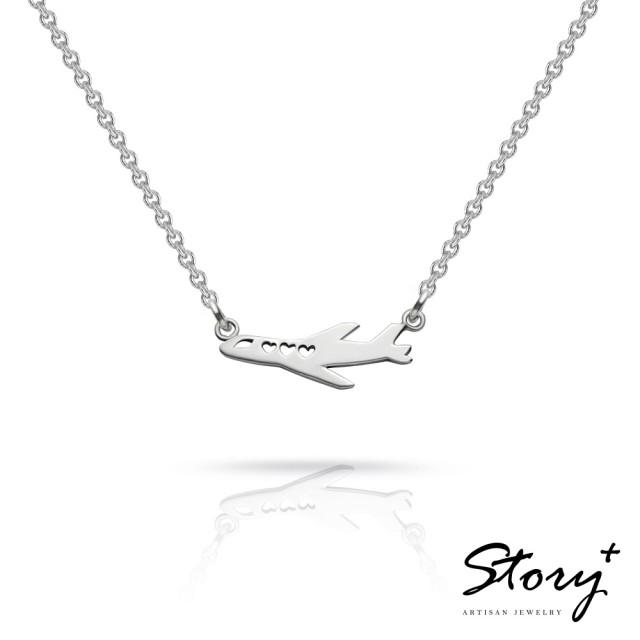 【Story Accessory】祈福項鍊-卡片銀飾飛機款