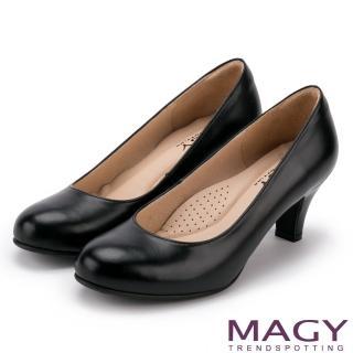 【MAGY】簡約OL通勤款 素面通勤牛皮高跟鞋(黑色)