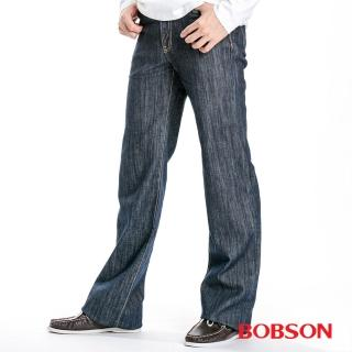【BOBSON】植絨貼合布直筒褲(藍1729-52)