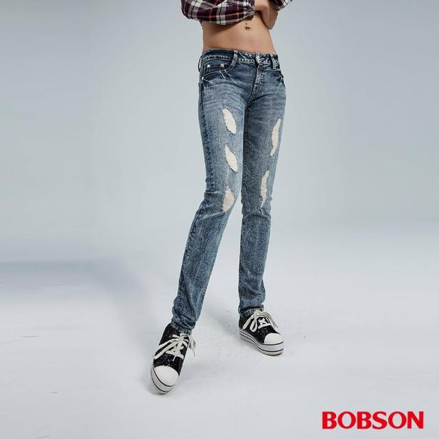 【BOBSON】小直筒彈性破褲(藍8042-58)