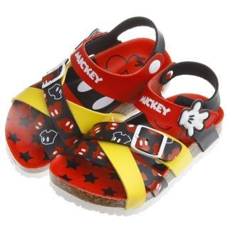【布布童鞋】Disney迪士尼米奇紅黑雙色交織歐風兒童氣墊涼鞋(MHU812A)