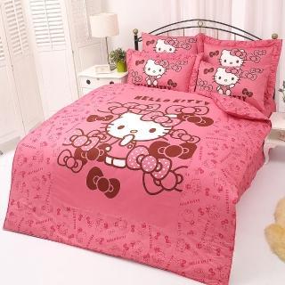 【享夢城堡】精梳棉雙人床包薄被套四件組(HELLO KITTY 我的小可愛-粉)