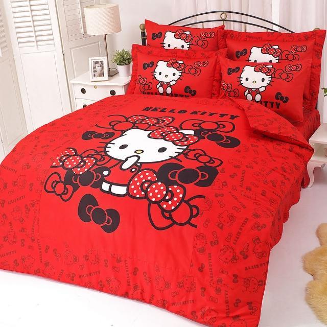 【享夢城堡】HELLO KITTY 我的小可愛系列-雙人純棉四件式床包薄被套組(紅)