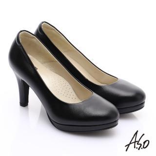 【A.S.O】舒適通勤 全牛皮窩心通勤跟鞋(黑軟皮)