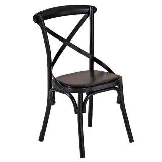 ~AT HOME~瑪德琳黑色交叉皮面餐椅
