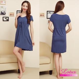 【LOTUS】歐美性感莫代爾繫帶短袖睡裙(藍色)