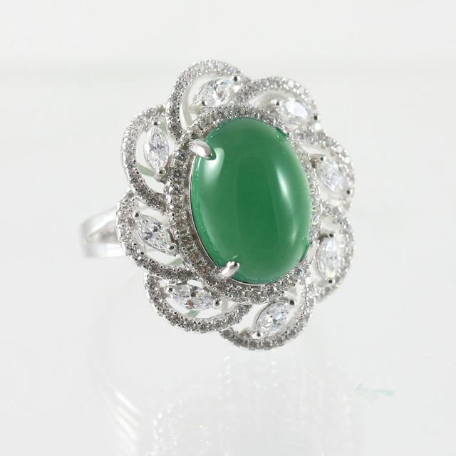 【金郁豐】絢麗繽紛天然帝王綠翡翠藍寶戒