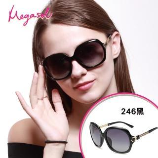 【MEGASOL】寶麗萊UV400防眩偏光手工太陽眼鏡(Dior設計師款-MS246黑色系列)