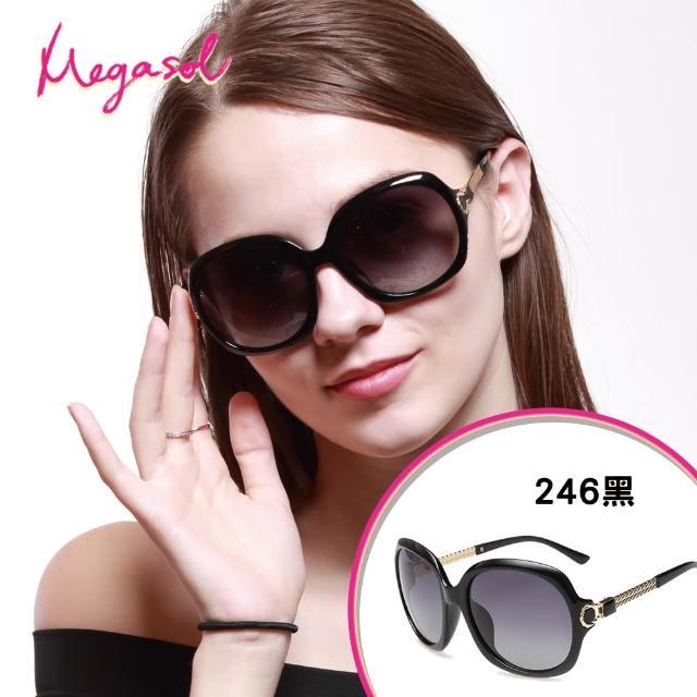 【MEGASOL】寶麗萊UV400防眩偏光手工太陽眼鏡(Dior設計師款三股麻繩編織金架-MS246)