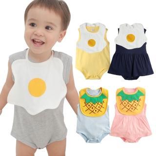 【baby童衣】寶寶包屁衣 荷包蛋圍兜配包屁裙 2件套 61063(共6色)