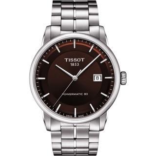 【TISSOT】LUXURY 動力儲存80機械腕錶-咖啡/41mm(T0864071129100)