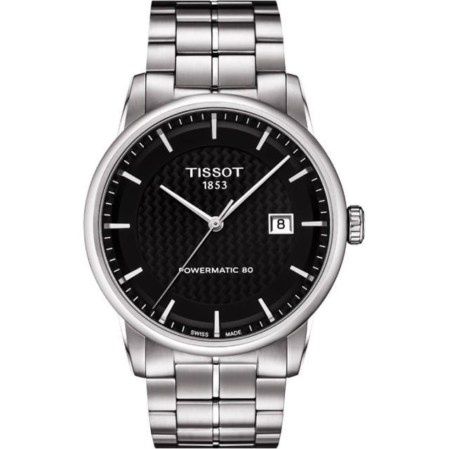 【TISSOT】LUXURY 動力儲存80機械腕錶-黑x銀/41mm(T0864071120102)