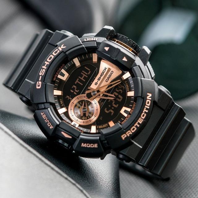 【G-SHOCK】金屬光澤多層次錶盤設計腕錶-玫瑰金(GA-400GB-1A4DR)