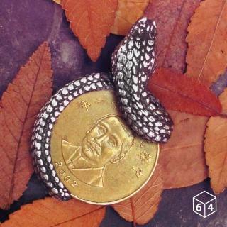 【ART64】叢林風 錢夾 蟒蛇銀元 錢夾 銀墬 不含鍊