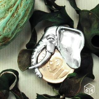 【ART64】叢林風 錢夾 象銀元 錢夾 銀墬 不含鍊