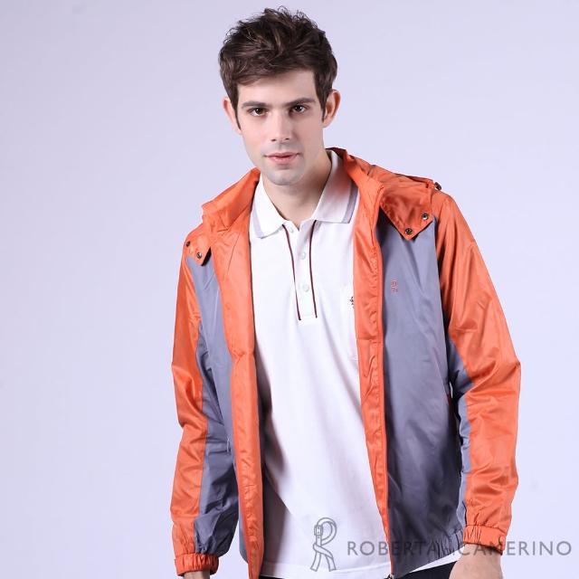 【ROBERTA諾貝達】防潑水 雙色拼接可拆式帽運動防風外套(橘色)