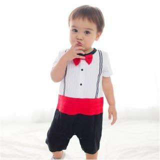 ~baby童衣~連身衣圓領短袖假背帶領結假兩件爬服 60253 共1色